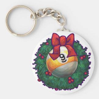9 ball Christmas Basic Round Button Key Ring