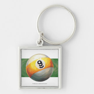 9 ball Silver-Colored square key ring