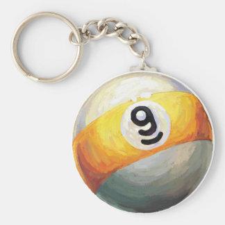 9 ball basic round button key ring