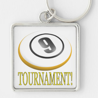 9 Ball Tournament Silver-Colored Square Key Ring