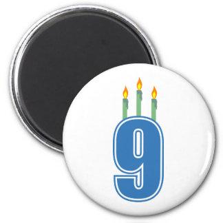 9 Birthday Candles (Blue / Green) 6 Cm Round Magnet
