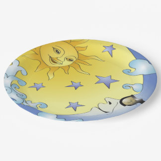 """9"""" Custom Paper Plates/Sun, Moon and Stars Paper Plate"""