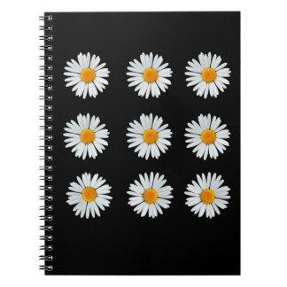 9 daisies on black spiral notebook