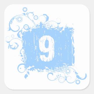 #9 Light Blue Grunge Square Stickers