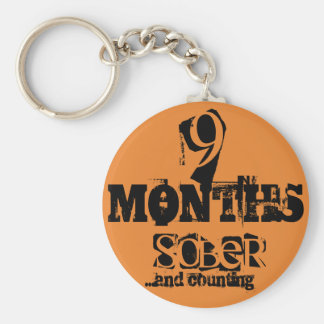 9 Months Sobriety Key Ring