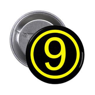 9 - number nine 6 cm round badge