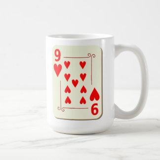 9 of Hearts Playing Card Coffee Mug