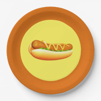 "9"" Paper Plates-Hotdog Picnic Paper Plate"