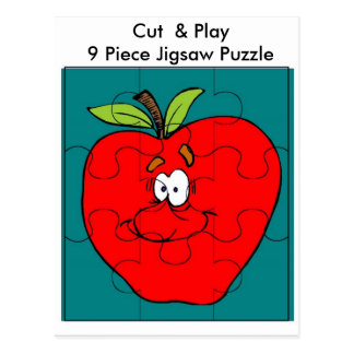 9 Piece Cut & Play Apple Puzzle Postcard