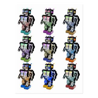 9 Robots Coloured Postcard