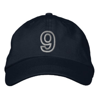"""""""9"""" Small Athletic Number Embroidered Baseball Cap"""