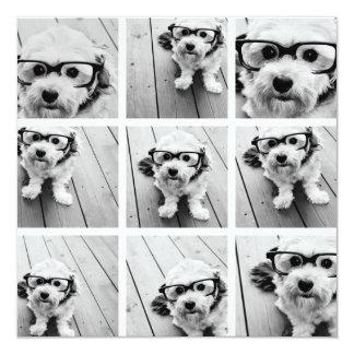 9 Square Photo Collage - Black and White 13 Cm X 13 Cm Square Invitation Card