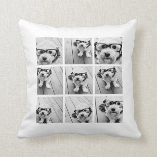9 Square Photo Collage - Black and White Throw Pillow