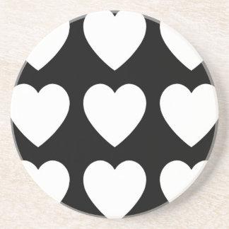 9 White on Black Hearts Sandstone Coaster