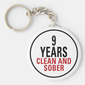 9 Years Clean and Sober Basic Round Button Key Ring