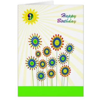 9 years old, a happy flowers card