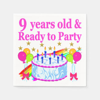 9 YRS OLD AND READY TO PARTY BIRTHDAY CAKE DESIGN PAPER NAPKINS