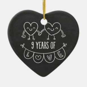 9th anniversary gifts on zazzle au 9th anniversary gift chalk hearts ceramic ornament negle Gallery