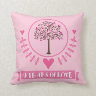 9th Anniversary Love Tree Throw PIllow