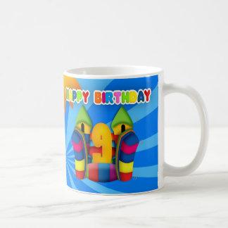 9th Birthday Bouncy Castle Gift Mug, Inflatable Coffee Mug