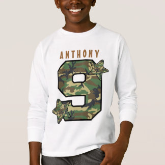 9th Birthday Boy Camo and Stars Custom Name V01J T-Shirt