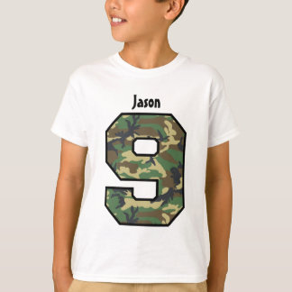 9th Birthday Boy Camo Eight Year Custom Name V007K T-Shirt