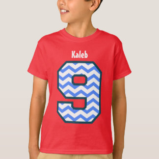 9th Birthday Boy CHEVRON Nine Year Custom Name V27 T-Shirt