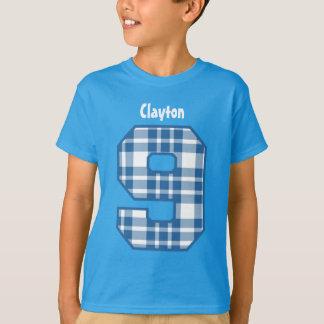 9th Birthday Boy PLAID Nine Year Custom Name V27 T-Shirt