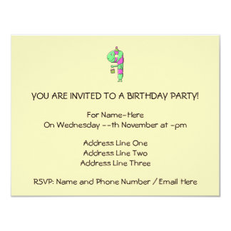 9th Birthday. Bright and Colorful Cartoon. 11 Cm X 14 Cm Invitation Card