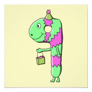 9th Birthday. Bright and Colorful Cartoon. 13 Cm X 13 Cm Square Invitation Card