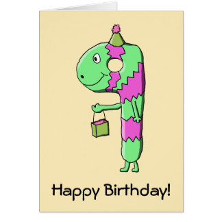 9th Birthday. Bright and Colorful Cartoon. Greeting Card