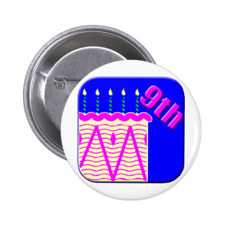 9th Birthday Cake Gifts Pinback Button