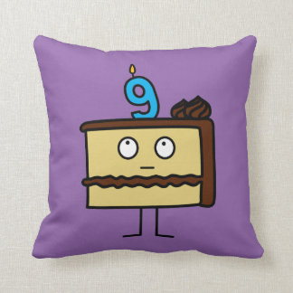 9th Birthday Cake with Candles Cushion