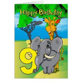 9th Birthday Card - Elephant, Giraffe, Jungle