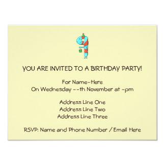 9th Birthday Cartoon. 11 Cm X 14 Cm Invitation Card