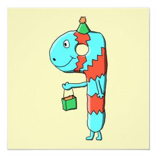 9th Birthday Cartoon. 13 Cm X 13 Cm Square Invitation Card