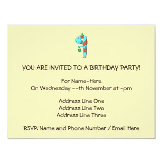 9th Birthday Cartoon. Custom Invites