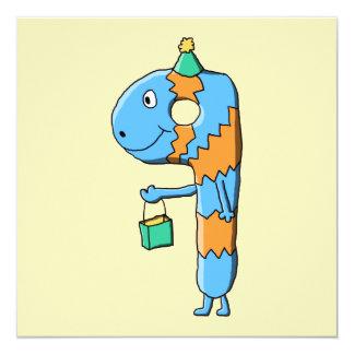 9th Birthday Cartoon Monster. 13 Cm X 13 Cm Square Invitation Card