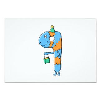 9th Birthday Cartoon Monster. 9 Cm X 13 Cm Invitation Card