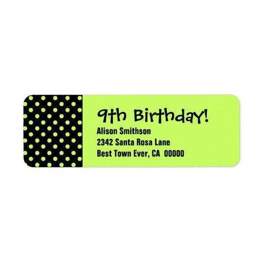 9th Birthday Cute Polka Dot Pattern Return Address Label