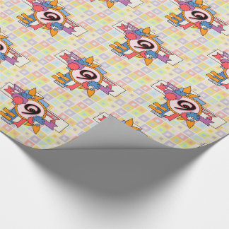 9th Birthday Fun Checkered and Cluster Design Wrapping Paper