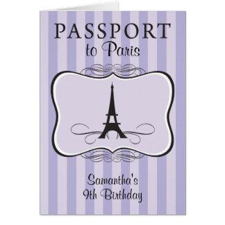 9TH Birthday Paris Passport Invitation Note Card