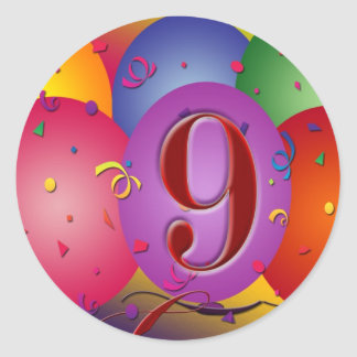 9th Birthday Party Colorful balloons Stickers