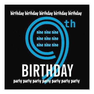 9th Birthday Party Modern Blue and Black W689B 13 Cm X 13 Cm Square Invitation Card