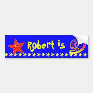 9th Birthday Party Red Smiley Star Decoration Bumper Sticker