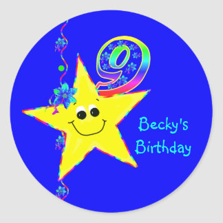 9th Birthday Party Smiley Stars Stickers