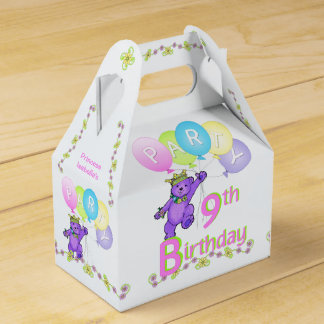 9th Birthday Princess Bear Custom Party Favour Boxes