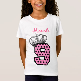 9th Birthday Princess Crown and Hearts V04 T-Shirt