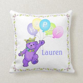 9th Birthday Purple Bear, Custom Name Throw Cushions