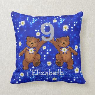 9th Birthday Teddy Bears Throw Pillow